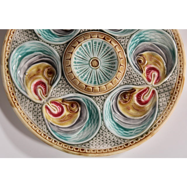 19th Century Majolica Fish Heads Oyster Plate by Onnaing, 1800s For Sale - Image 5 of 13
