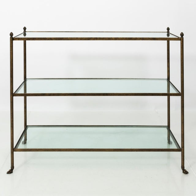 Gold Pair of 1980s Three-Tier Glass Etageres For Sale - Image 8 of 13