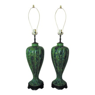 Mid Century Modern Drip Glaze Peacock Blue & Green Table Lamps - a Pair For Sale