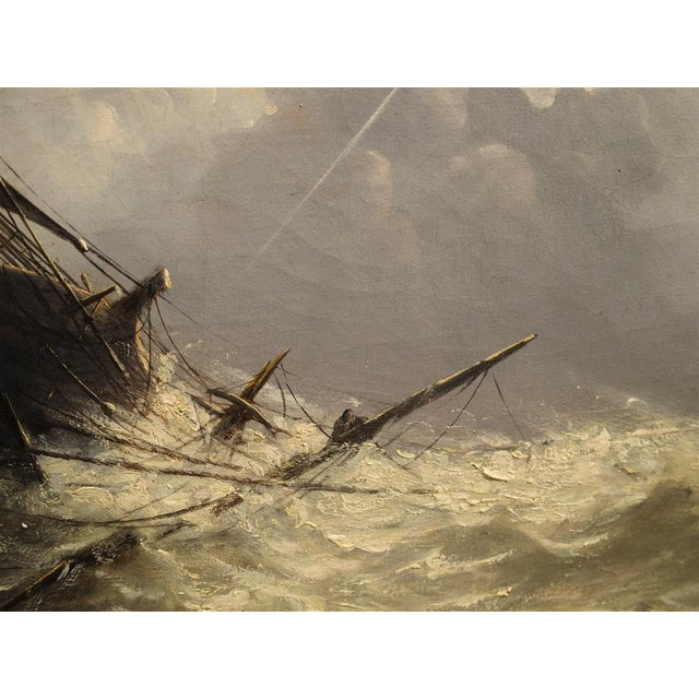 Antique Oil on Canvas Marine Painting From Normandy France, 1883 For Sale - Image 12 of 13