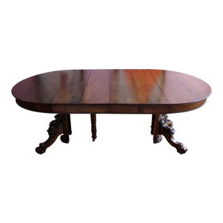 Late 19th Century Victorian Lion's Head Claw Foot Dining Table