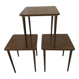 Mid-Century Modern Walnut Stacking Tables - Set of 3