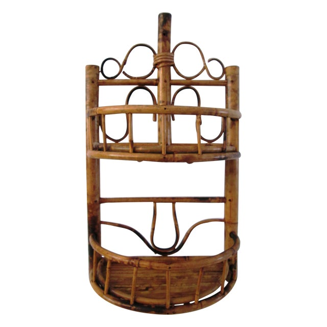 Vintage Bamboo & Rattan Two-Tier Hanging Shelf - Image 1 of 6