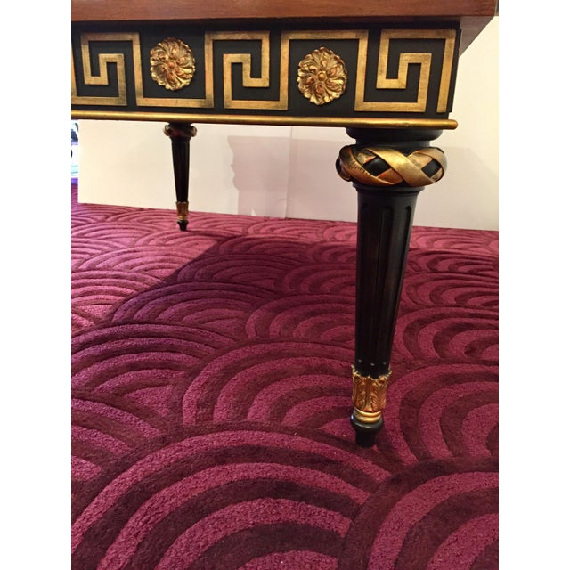 1980s Widdicomb Regency Mahogany Ebonized & Gilded Greek Key Coffee Table For Sale - Image 9 of 11