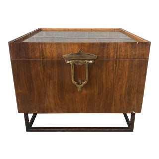 Mid-Century Walnut and Brass Corner Table Cabinet for John Widdicomb For Sale