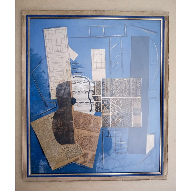 Late 20th Century Cubist Collage Featuring Instrument, Framed For Sale - Image 11 of 11