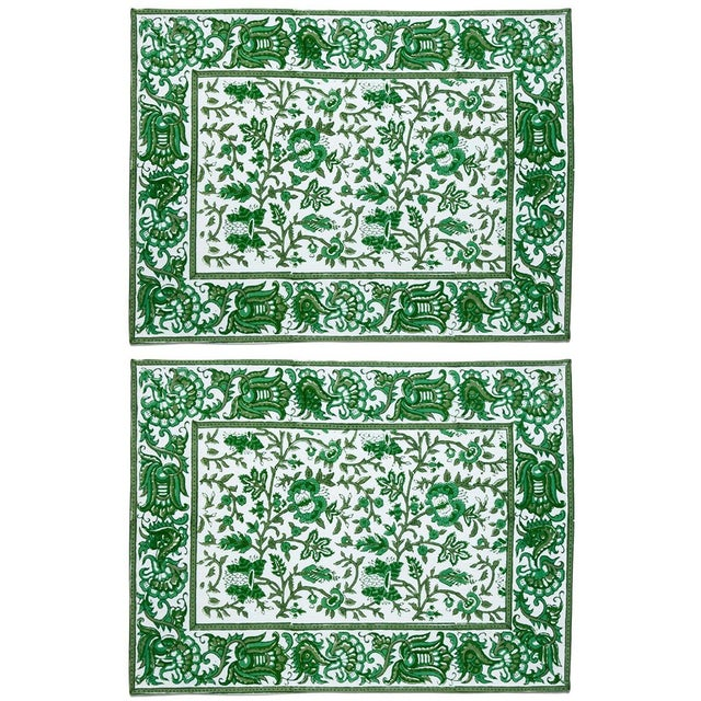Aria Placemats Green - A Pair For Sale - Image 4 of 4