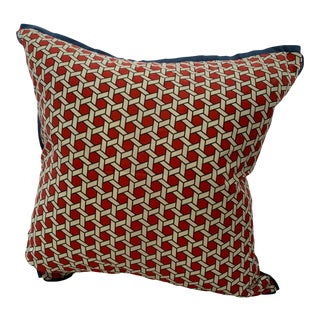 Red & White Geometric Pillow Cover For Sale