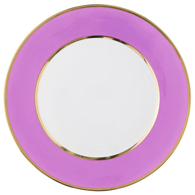 """""""Schubert"""" Charger in Aubergine & Narrow Gold Rim For Sale In San Francisco - Image 6 of 12"""