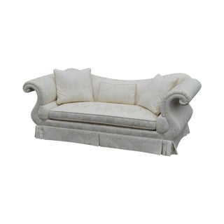 Baker French Empire Style White Damask Upholstered Sofa For Sale