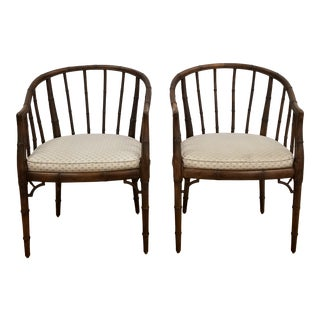 1960s Chinoiserie Faux Bamboo Barrel Chairs - a Pair For Sale