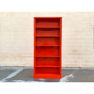 Classic Tall Steel Tanker Bookcase, Custom Refinished in Safety Orange Preview