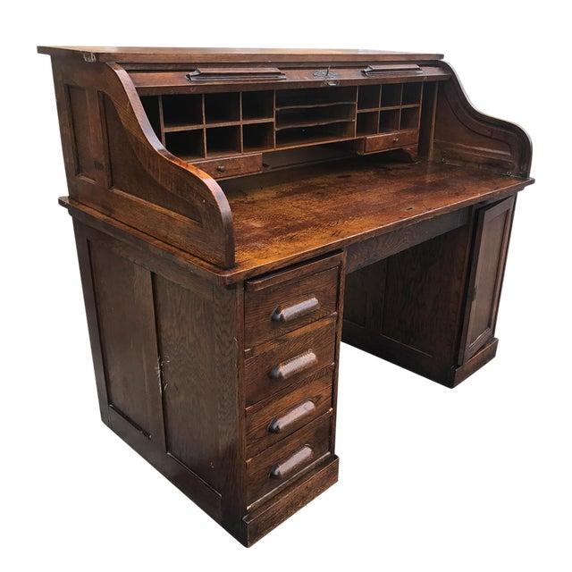 Antique Large Shelbyville Tiger Oak Roll Top Secretary Office Desk For Sale - Antique Large Shelbyville Tiger Oak Roll Top Secretary Office Desk