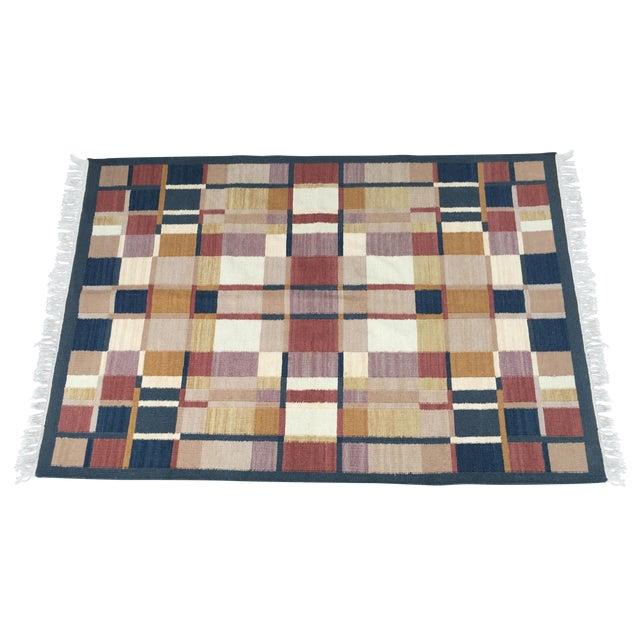 Geometric Indian Dhurrie Wool Rug - 4' x 6' - Image 1 of 8