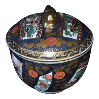 Chinese Hand Painted Covered Bowl For Sale