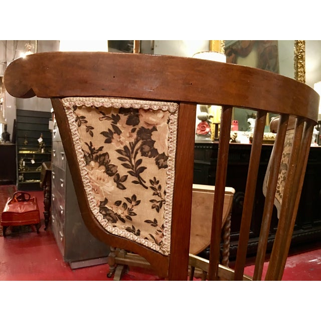 1900 - 1909 Austrian Walnut Barrel Back Wing Chair For Sale - Image 5 of 9