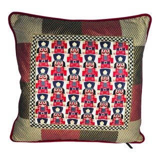 Mackenzie Childs Courtly Check Nutcrackers Embroidered Pillow For Sale