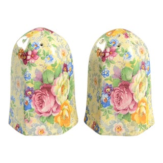 Lord Nelson Rose Time Chintz Salt & Pepper Shaker Set For Sale