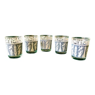 1960's Jeannette Co. Hellenic Style Shot Glasses in Corinthian Blue and White With Gold Trim- Set of 5 For Sale
