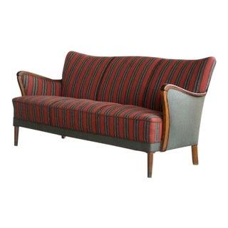 Classic Danish Midcentury Frits Henningsen Style Three-Seat Sofa For Sale
