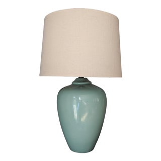 Large Mid-Century Celadon Table Lamp For Sale
