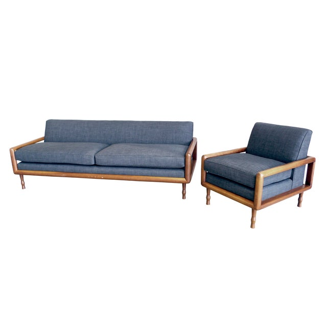 In the Style of T.H. Robsjohn-Gibbings Mid-Century Sofa & Armchair Set - Image 1 of 9