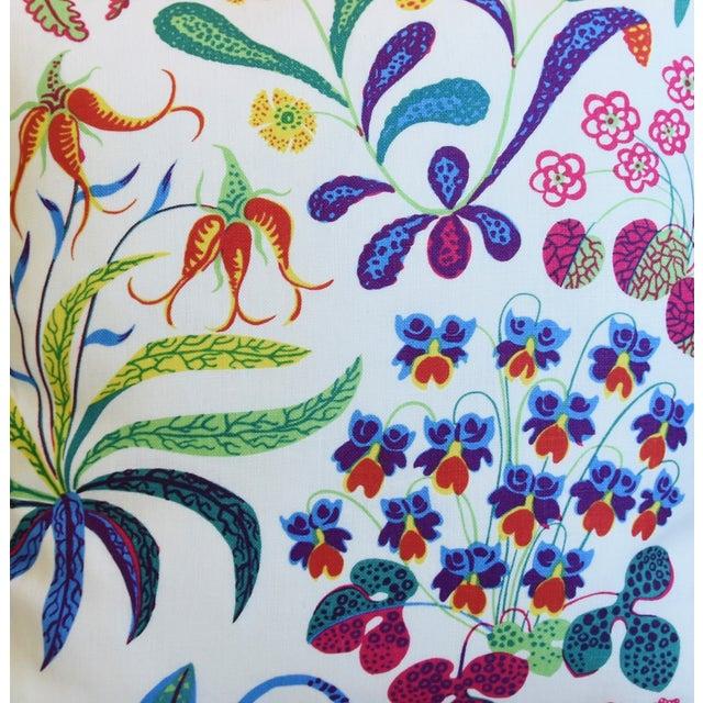 "Josef Frank Designer Josef Frank Floral ""Under Ekatorn"" Linen Feather/Down Pillows 18"" Square - Pair For Sale - Image 4 of 11"