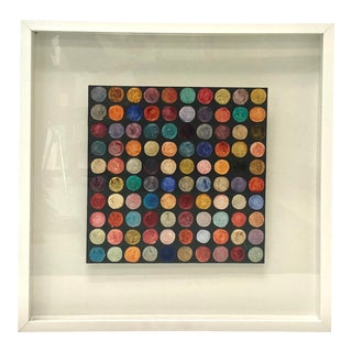 Abstract Polka Dot Oil Painting on Panel, Framed For Sale