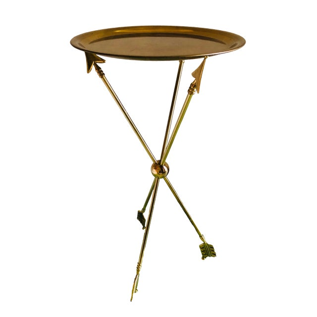 1960s Vintage French Maison Jansen Brass Arrow Table For Sale