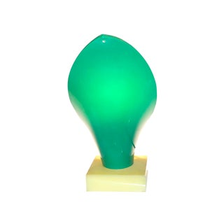 Early 20th Century Antique Molded Acrylic Green Table Sconce For Sale