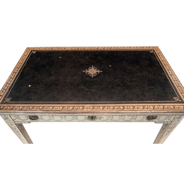 Black 19th Century Neoclassical Trompe l'Oeil Decor Desk and Black Leather Top For Sale - Image 8 of 9