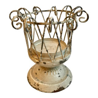 20th Century Neoclassical Chippy Metal Planter For Sale
