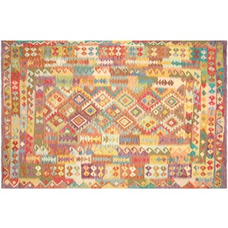"Nalbandian - Contemporary Afghan Maimana Kilim - 6'5"" X 9'9"" For Sale"