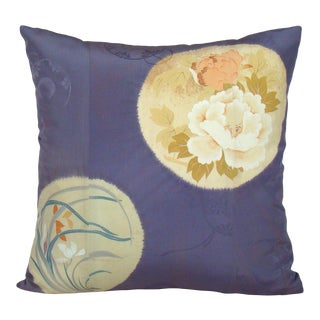 Hand-Painted Floral Medallion Japanese Kimono Pillow Cover For Sale