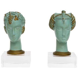 Set of Art Deco Chalk Ware Busts For Sale
