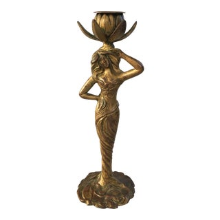 Art Nouveau Gilded Bronze Candleholder