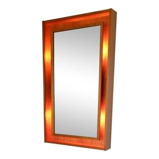 Pedersen & Hansen Danish Modern Lighted Teak Frame Mirror For Sale