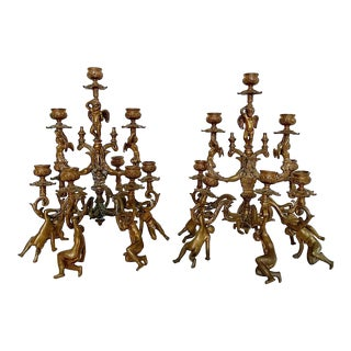 A Pair of Antique Bronze Figural Candelabras For Sale