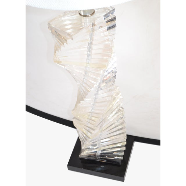 Mid-Century Modern Stacked Clear Lucite Lamps Spiral Staircase Design - a Pair For Sale - Image 10 of 13