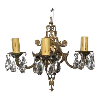 3-Arm Brass & Crystal Sconce For Sale