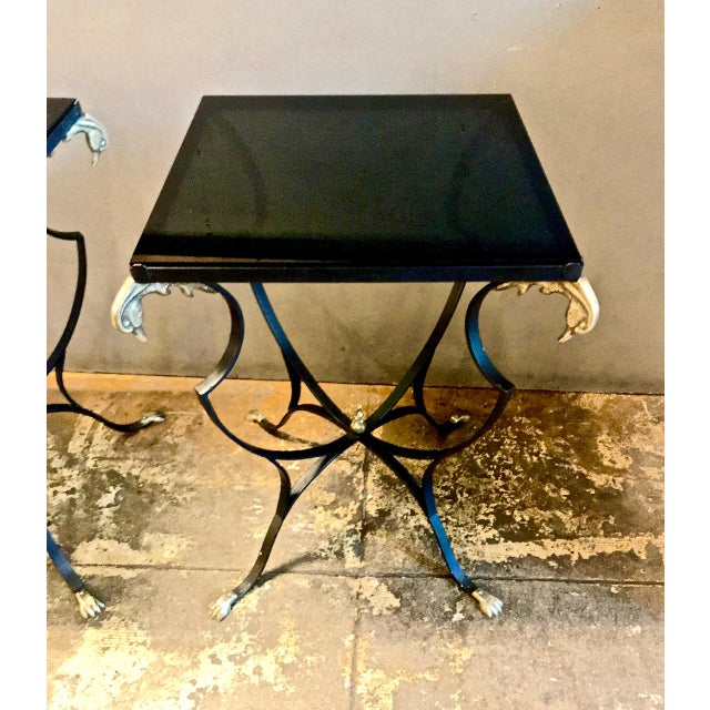 Art Deco Pair Art Deco Forged Iron and Brass Side Tables For Sale - Image 3 of 10