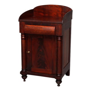 Antique American Empire Flame Mahogany Half Commode, 19th Century For Sale