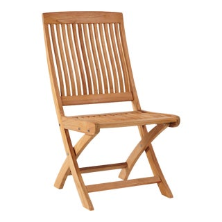 Devon Teak Outdoor Folding Side Chair For Sale