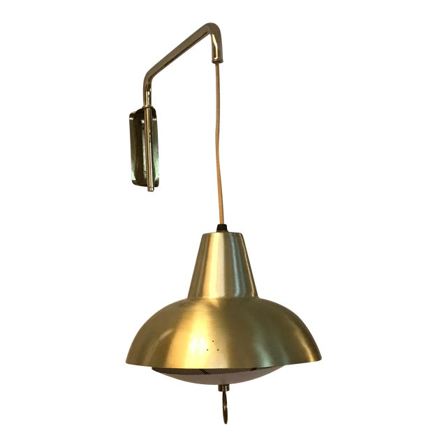 Brass Mid-Century Wall Lamp For Sale