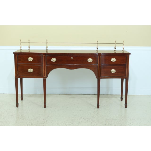 Kindel Oxford Mahogany Federal Sideboard W. Brass Gallery For Sale - Image 13 of 13