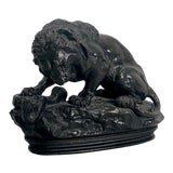 "Image of 19th Century French ""Lion and the Serpent"" Bronze Sculpture For Sale"