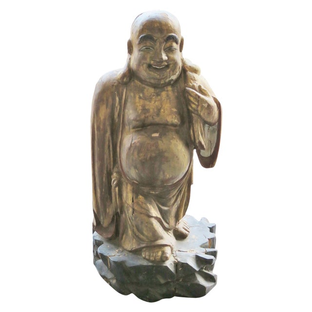 Antique Carved & Painted Buddha For Sale