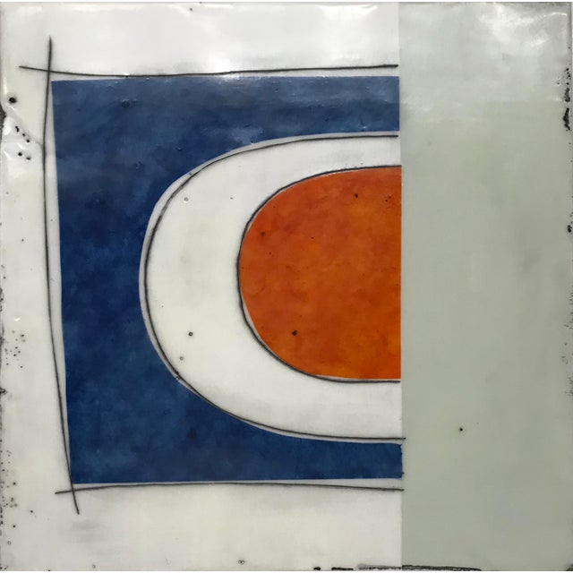 "Gina Cochran ""Perceptions No. 29"" Encaustic Collage Painting - Indigo & Orange For Sale - Image 4 of 4"