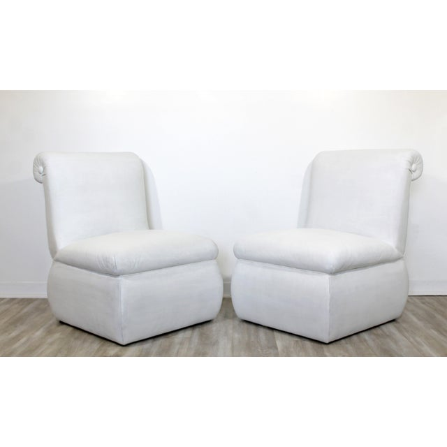 Contemporary Modern White Leather Accent Slipper Side Chairs, 1980s - a Pair For Sale - Image 10 of 10
