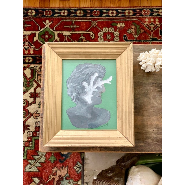 2020s Vintage Roman Bust & Coral Fragment Painting, by Memo Faraj For Sale - Image 5 of 7